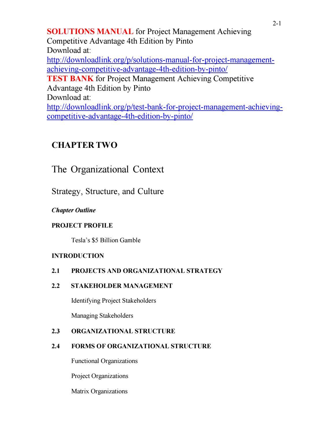 project management achieving competitive advantage 4th edition ebook