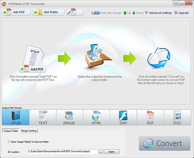 convert mass epubs to pdf