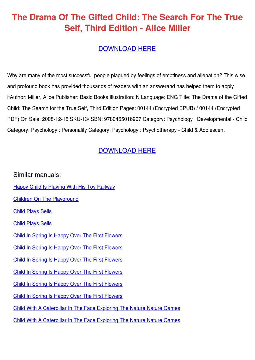 the drama of the gifted child epub