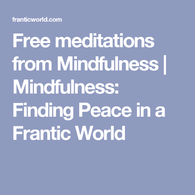 mindfulness in a frantic world ebook